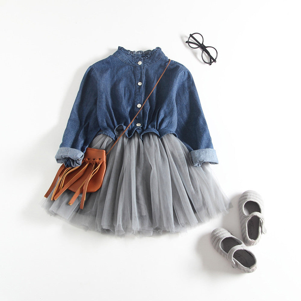 Stylish Denim Girls Outfit Dress (2 Colors)