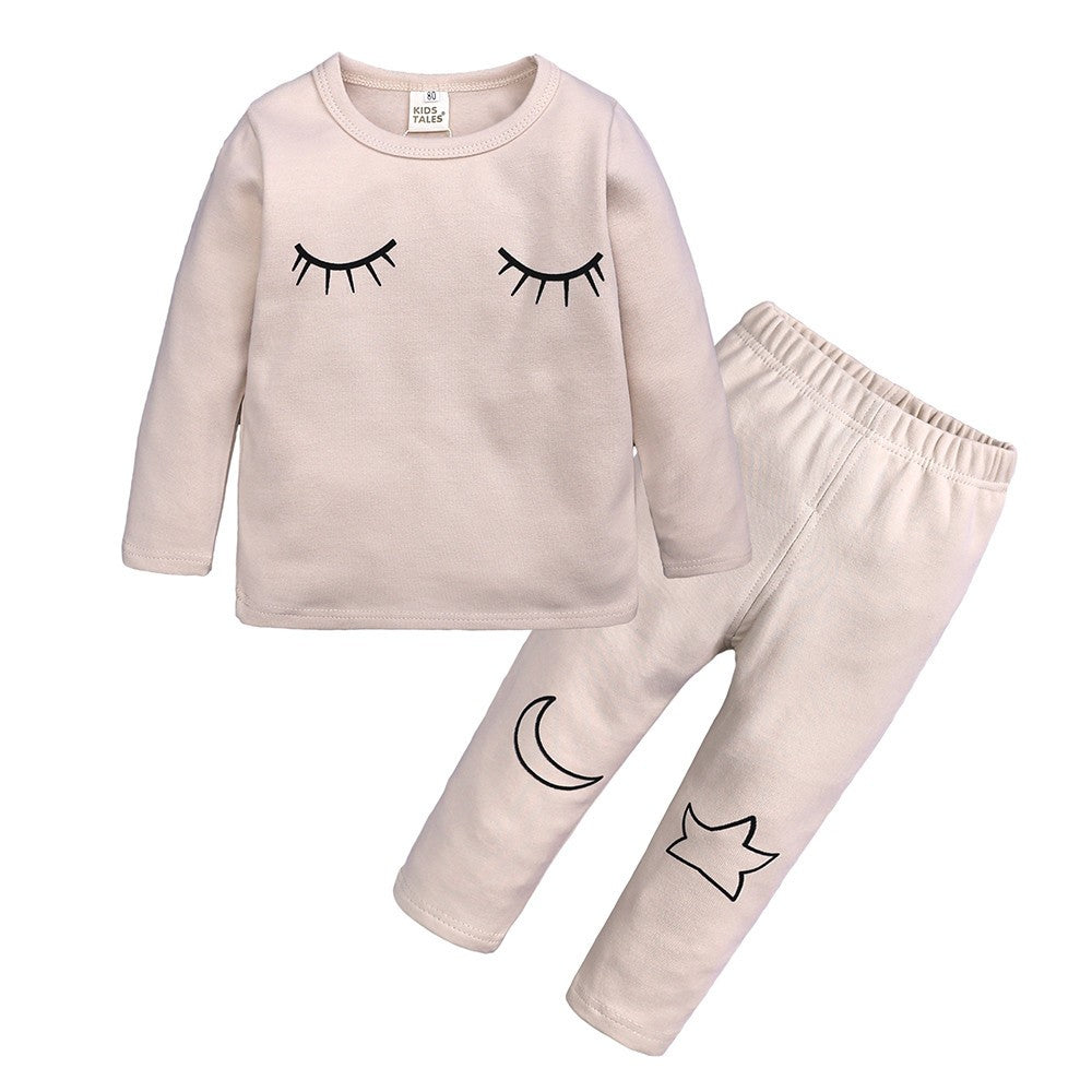 Stylish Eyelash Baby Girls Sleepwear Set