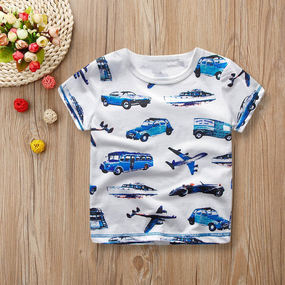 Boys T-shirt Cartoon Vehicles