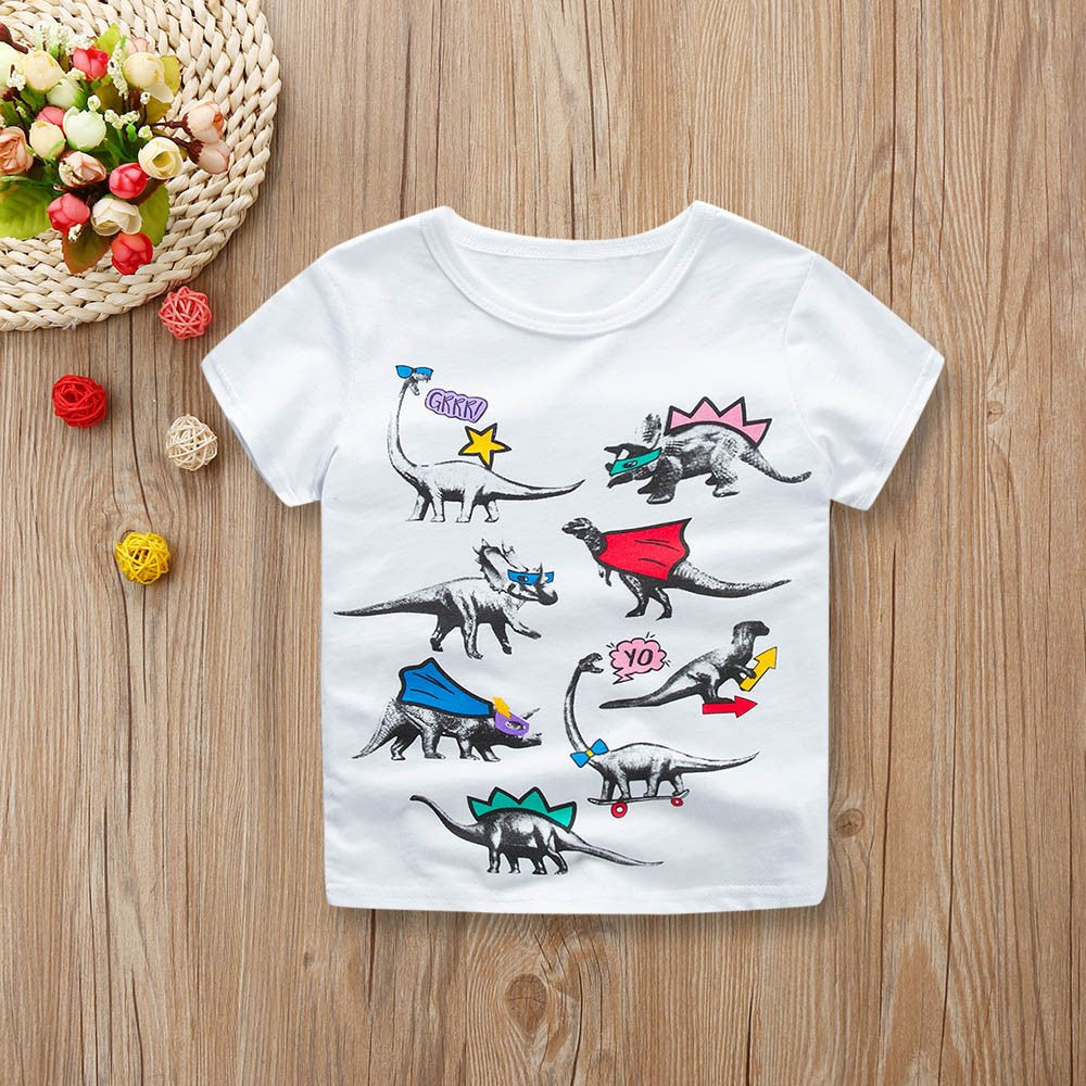 Boys T-shirt Cartoon Dinosau