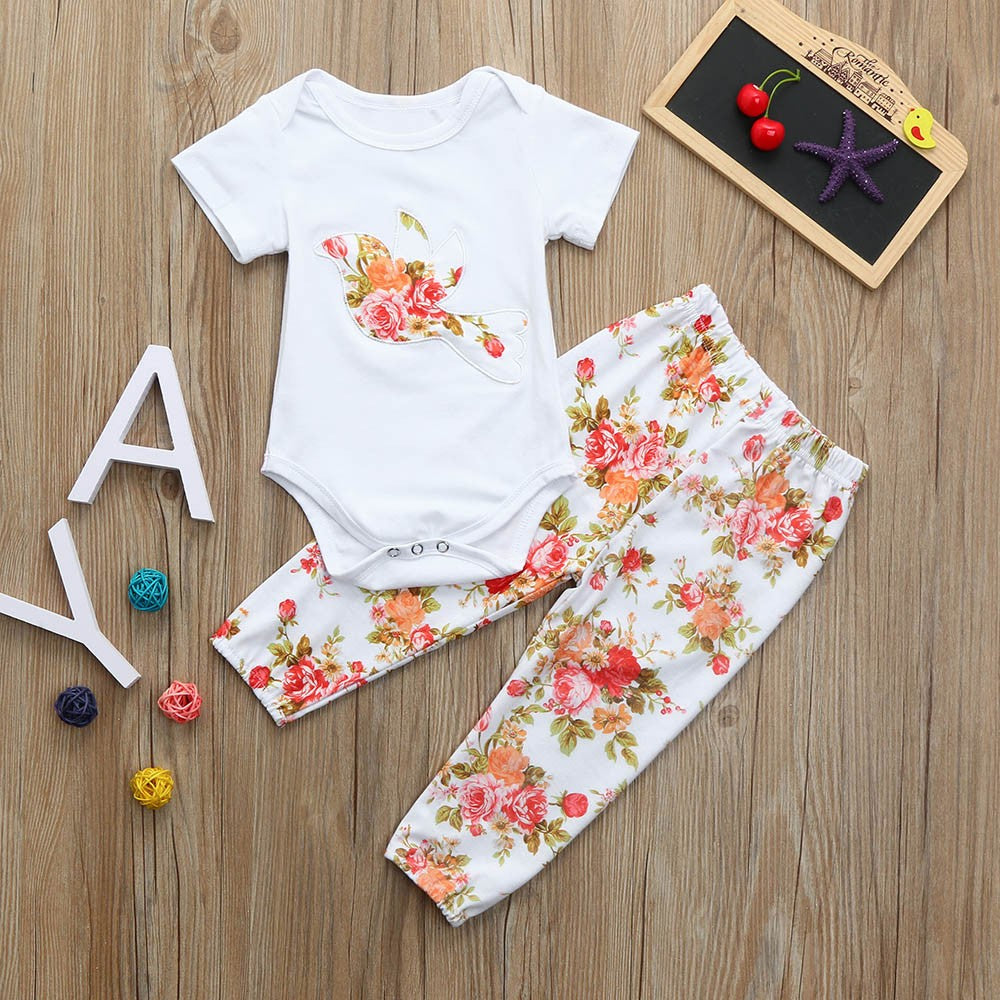 Summer Floral Baby Girls Outfit Set