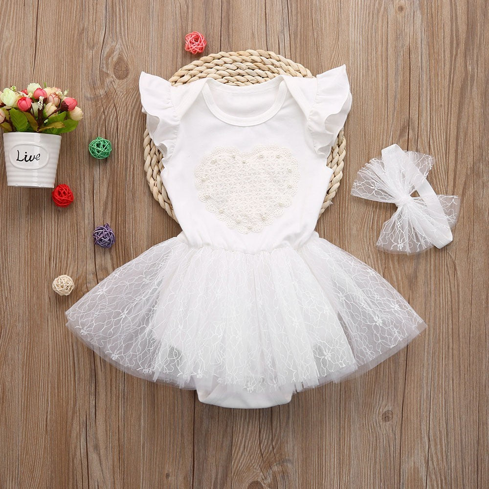 White Heart Baby Girls Dress