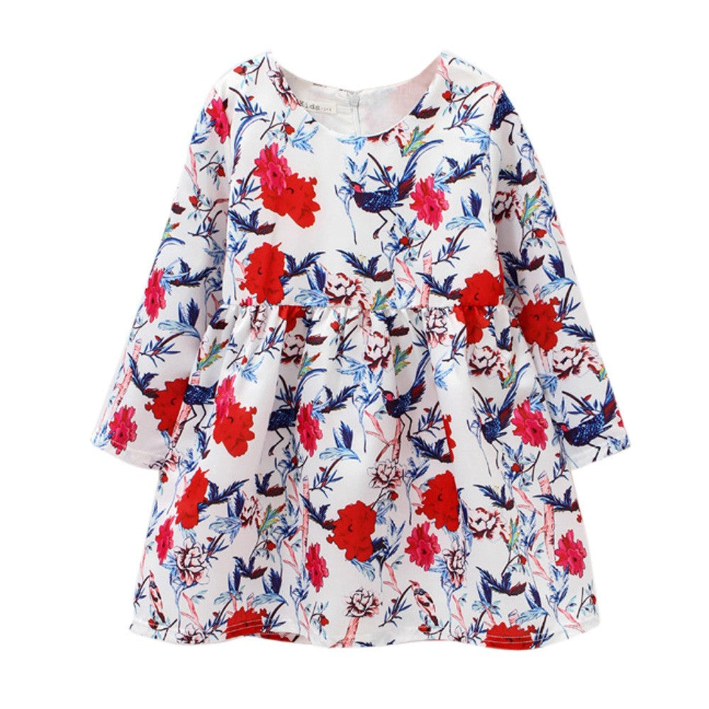 Flower Long Sleeve Girls Dress