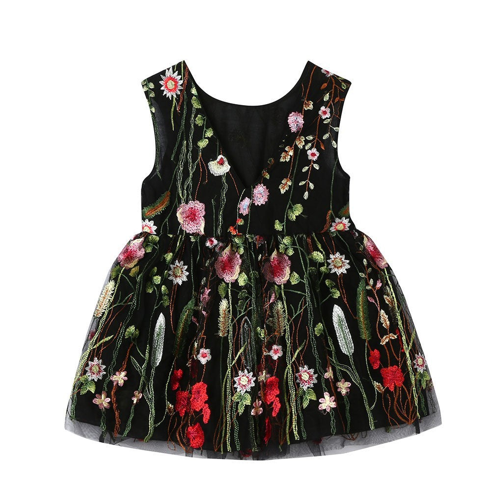 Floral Embroidery Girls Dress