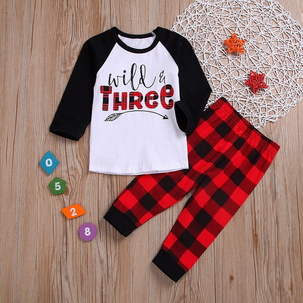 Plaid Baby Boys Sleepwear Outfit