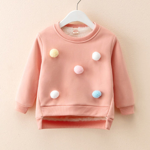 Fluffy Balls Baby Girls Sweater  (5 Colors)