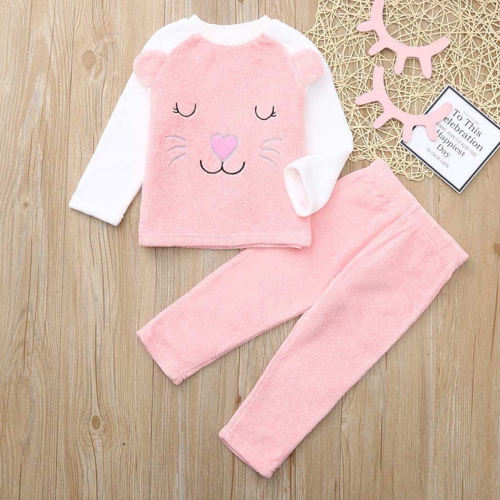 Pink Cat Baby Girl Sleepwear Set