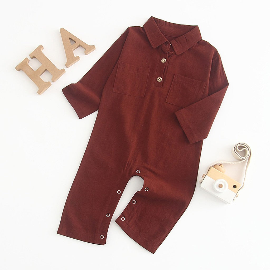 Newborn Baby Boy Long Sleeve Bodysuit - Brown/Khaki