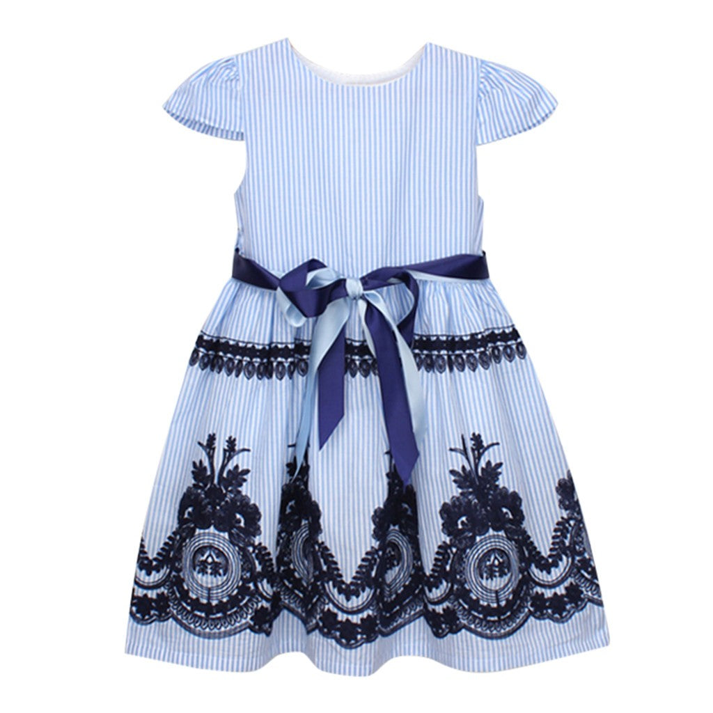 Blue Embroidery Girls Dress