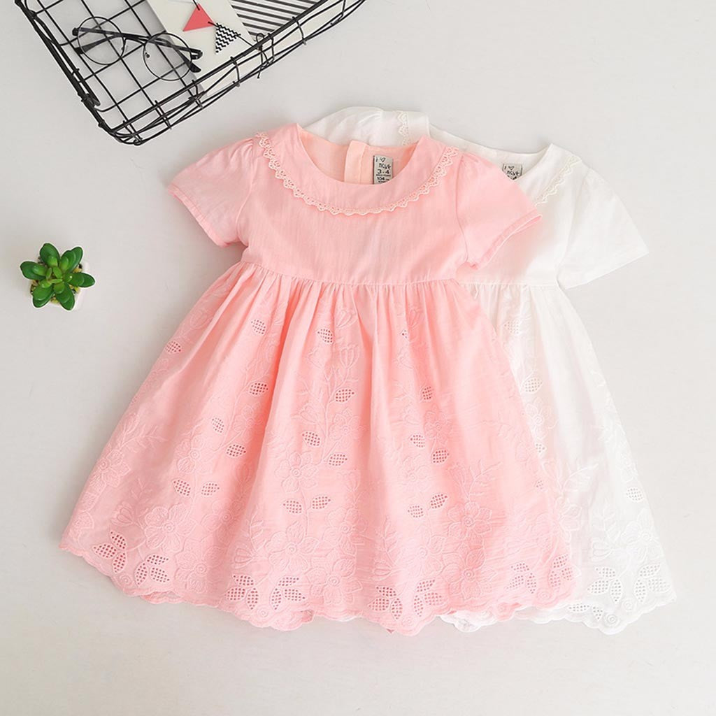 Lace & Embroidery Girls Dress (2 colors)