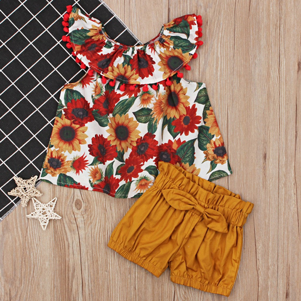 Summer Flowers Girls Outfit Set