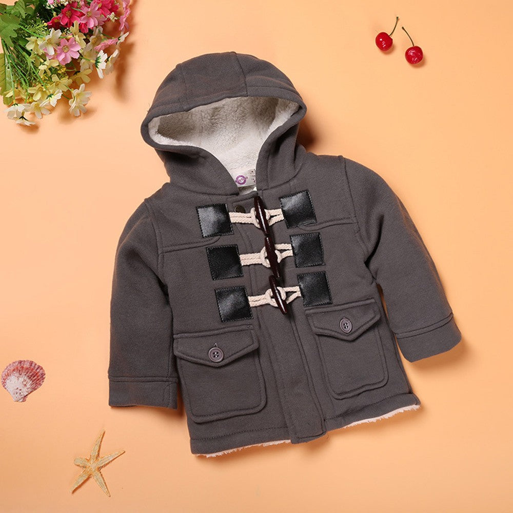 Boys Button Zipper Coat Jacket