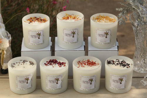 Hand Made Soy Wax Candles, White Jars, 850g.