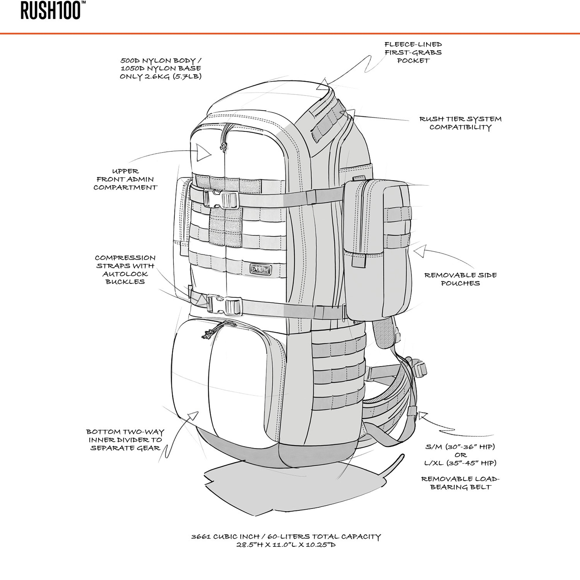 5.11 Tactical Rush100 60L Backpack