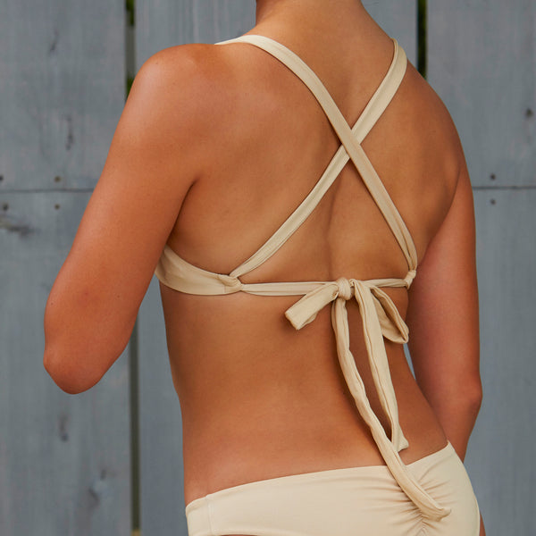 Back Ribbon Bikini Top BEG