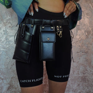 XBABES BLACK LEATHER WAIST BAG