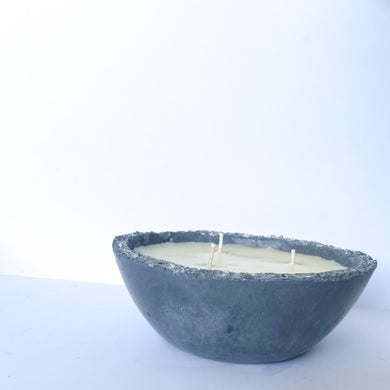 3 wick candle Concrete Bowl with Glass Accents