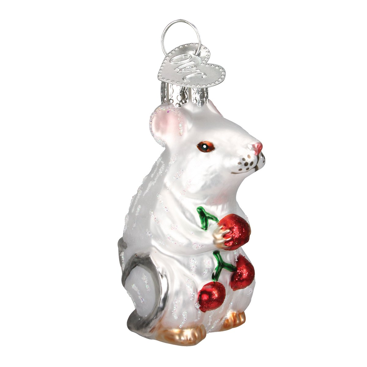 Old World Christmas - White Mouse Ornament