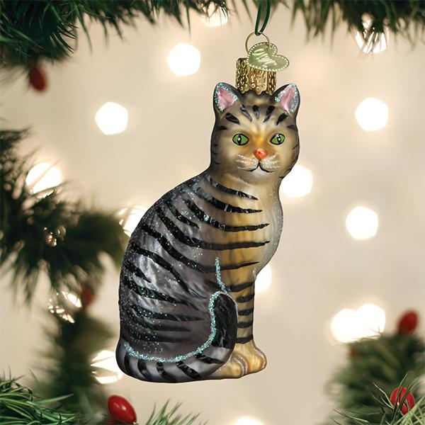 Old World Christmas - Grey Tabby Cat