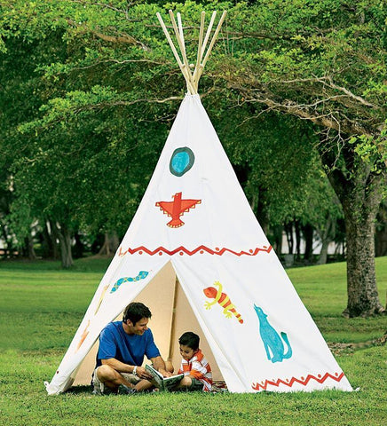 12' Family-Sized Cotton Canvas Teepee with Wooden Poles and Ground Cover
