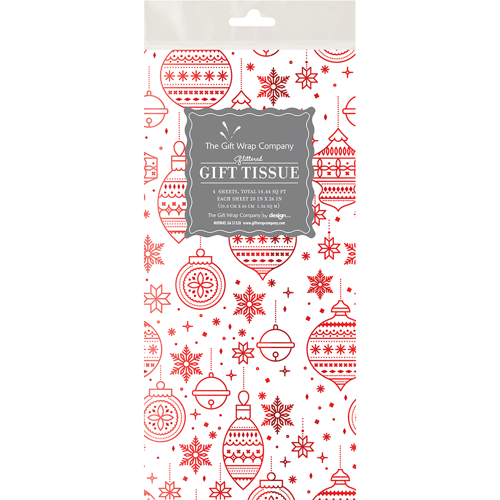 Tissue Paper - Joyful Christmas Red Foil