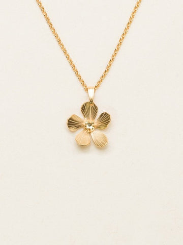 Holly Yashi Petite Plumeria Drop Necklace - Gold/Champagne