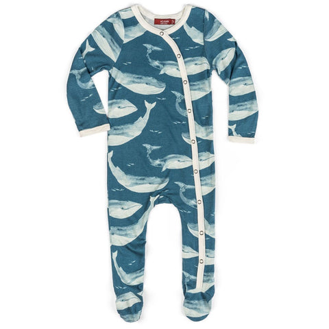 Milkbarn Footed Romper - BLUE WHALE 3-6