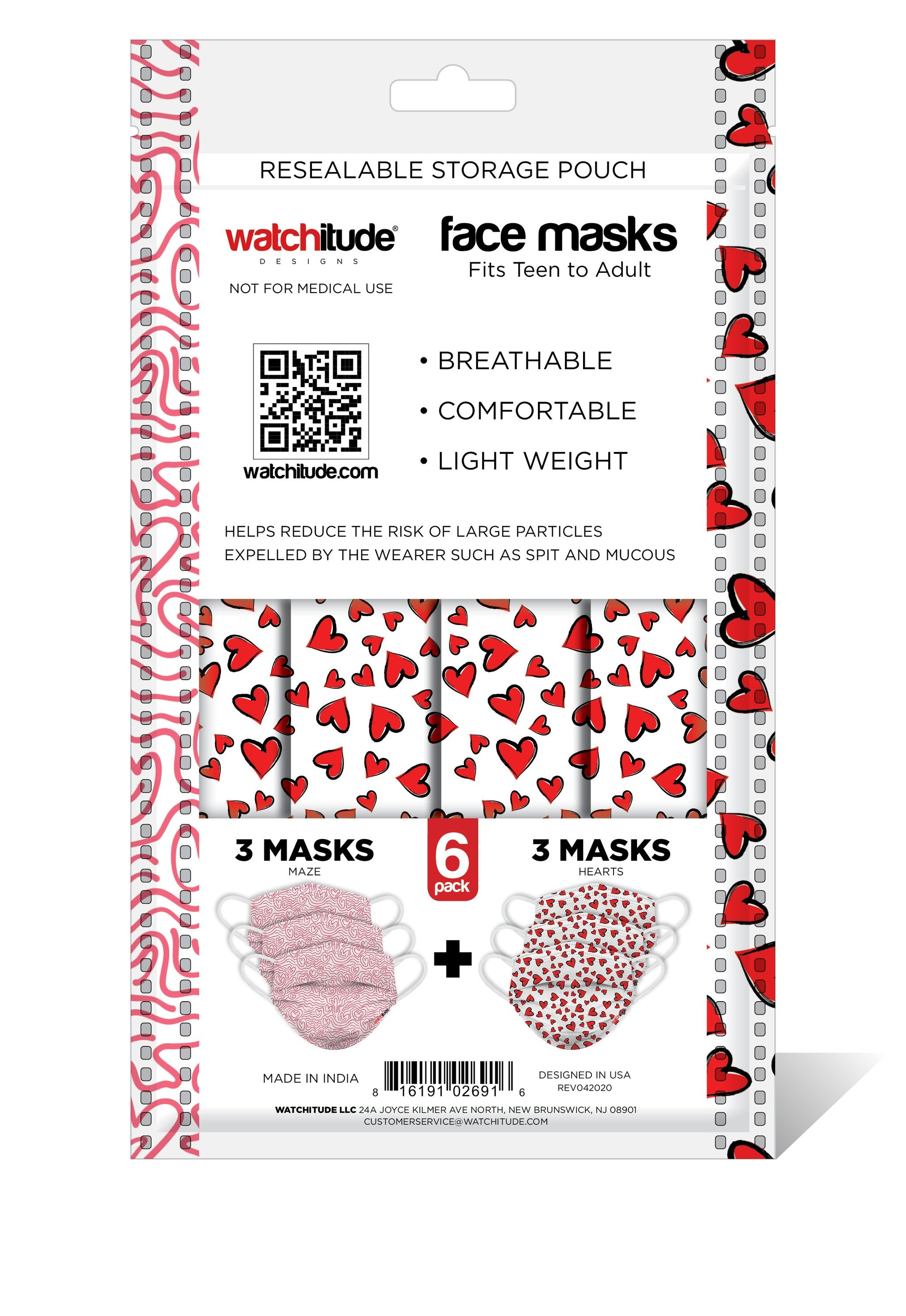 6 Pack Disposable Masks - Maze & Hearts