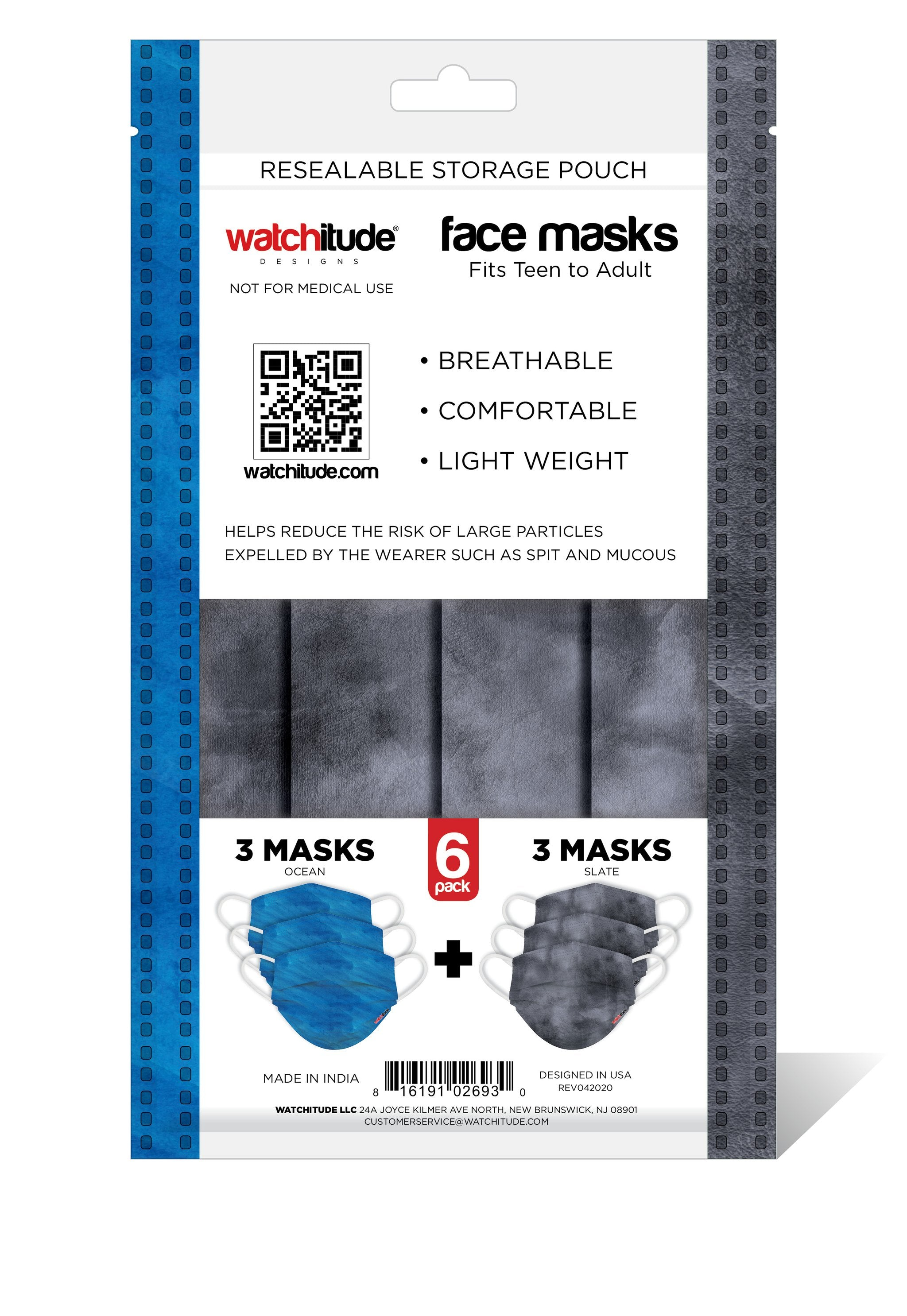 6 Pack Disposable Masks - Ocean & Slate