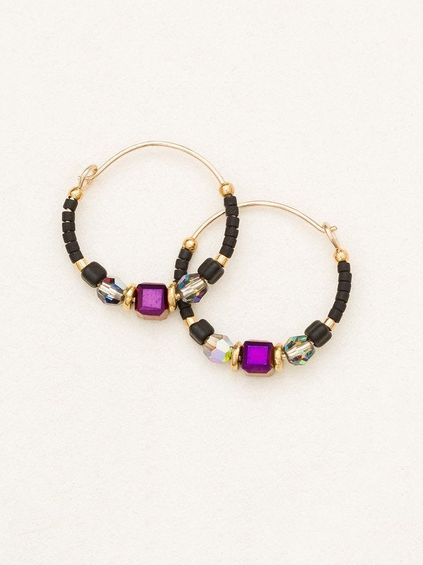 Holly Yashi Sonoma Petite Glass Bead Hoops - Galaxy Black