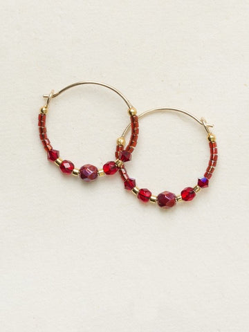 Holly Yashi Sonoma Petite Glass Bead Hoops - Merlot