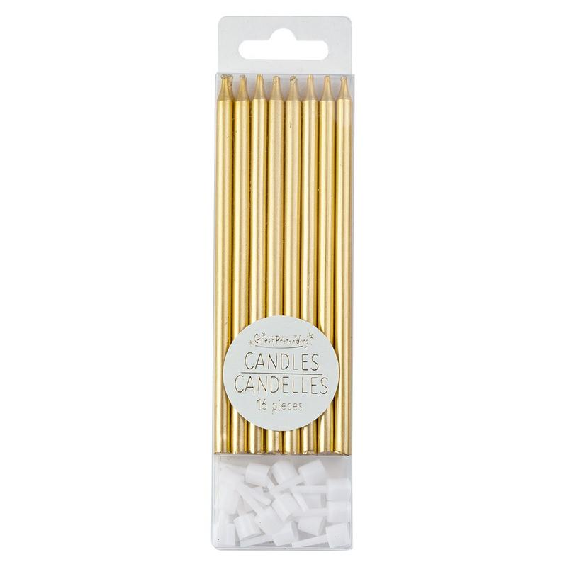 Tall Birthday Candles - 16 Piece Metallic Gold