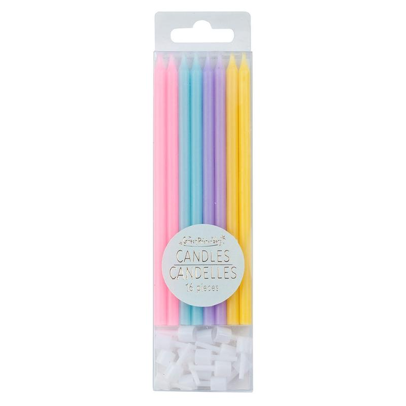 Tall Birthday Candles - Set Of 16 Pastels