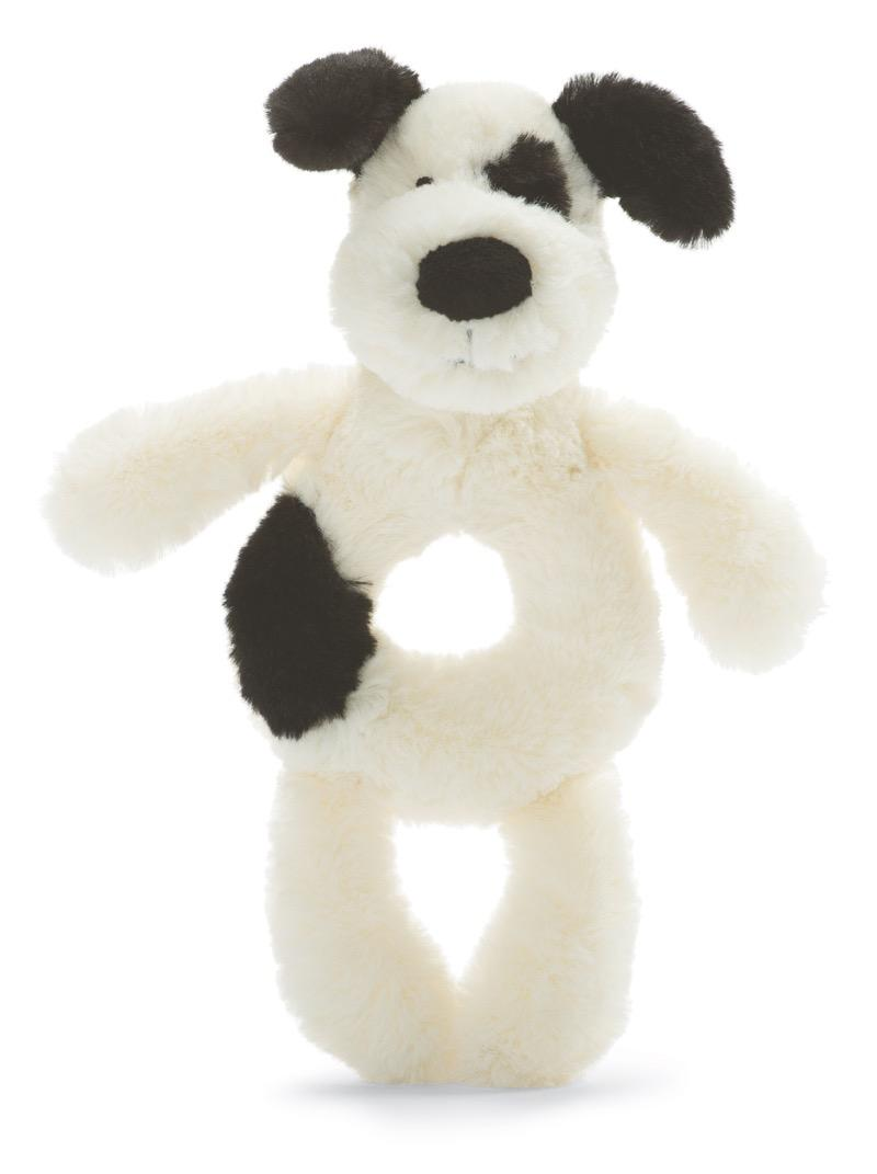Jellycat Bashful Black & Cream Puppy Ring Rattle