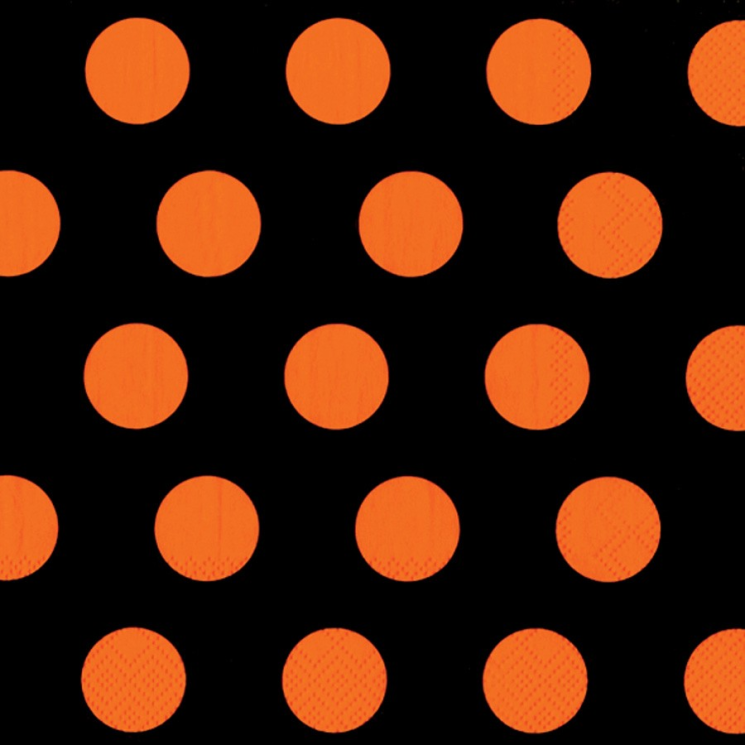 Lunch Napkin - Big Dots Black & Orange
