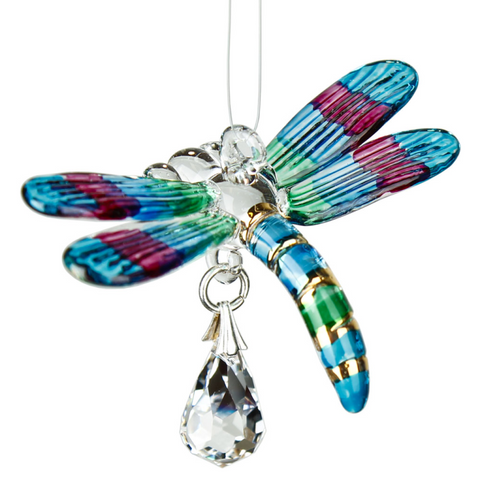 Fantasy Glass Suncatcher - Dragonfly, Spring Pastels