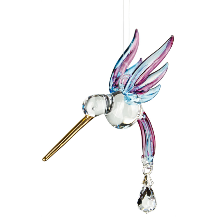 Fantasy Glass Suncatcher - Hummingbird, Winter Blue