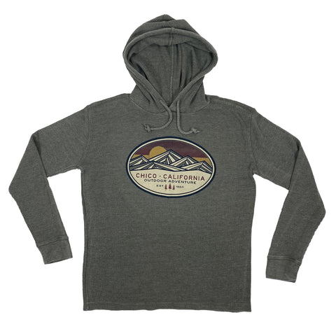 Long Sleeve Hooded Thermal Abstract Mountain