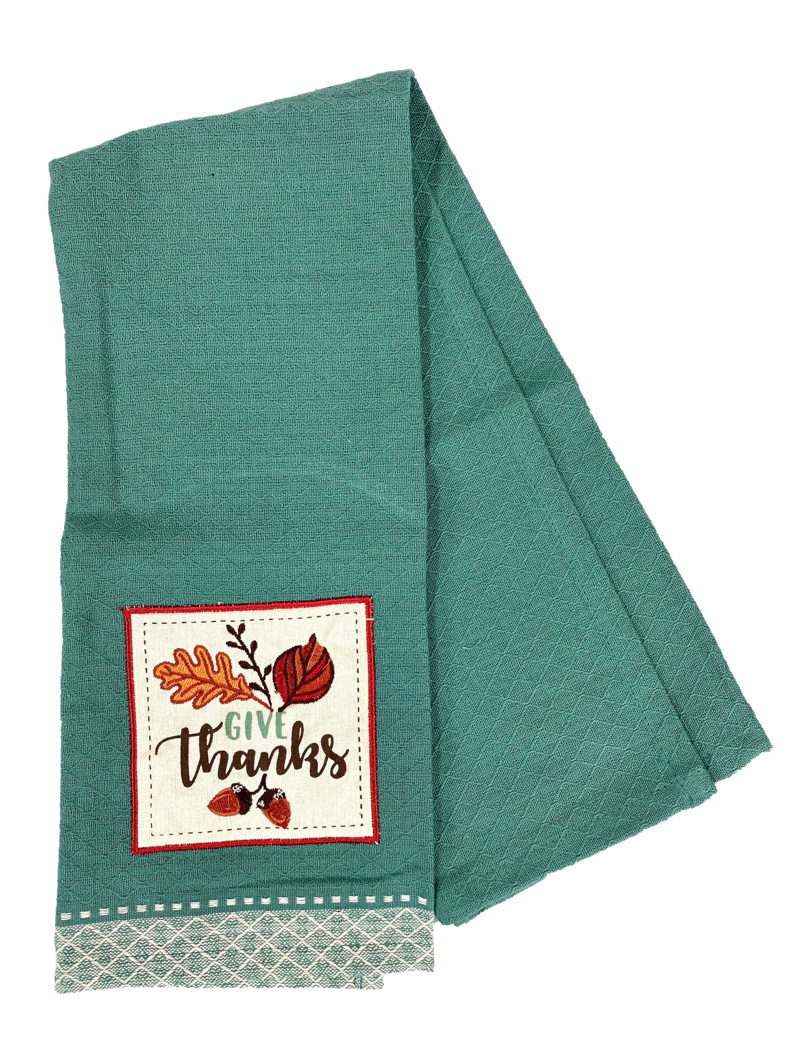 Give Thanks Applique Dishtowel