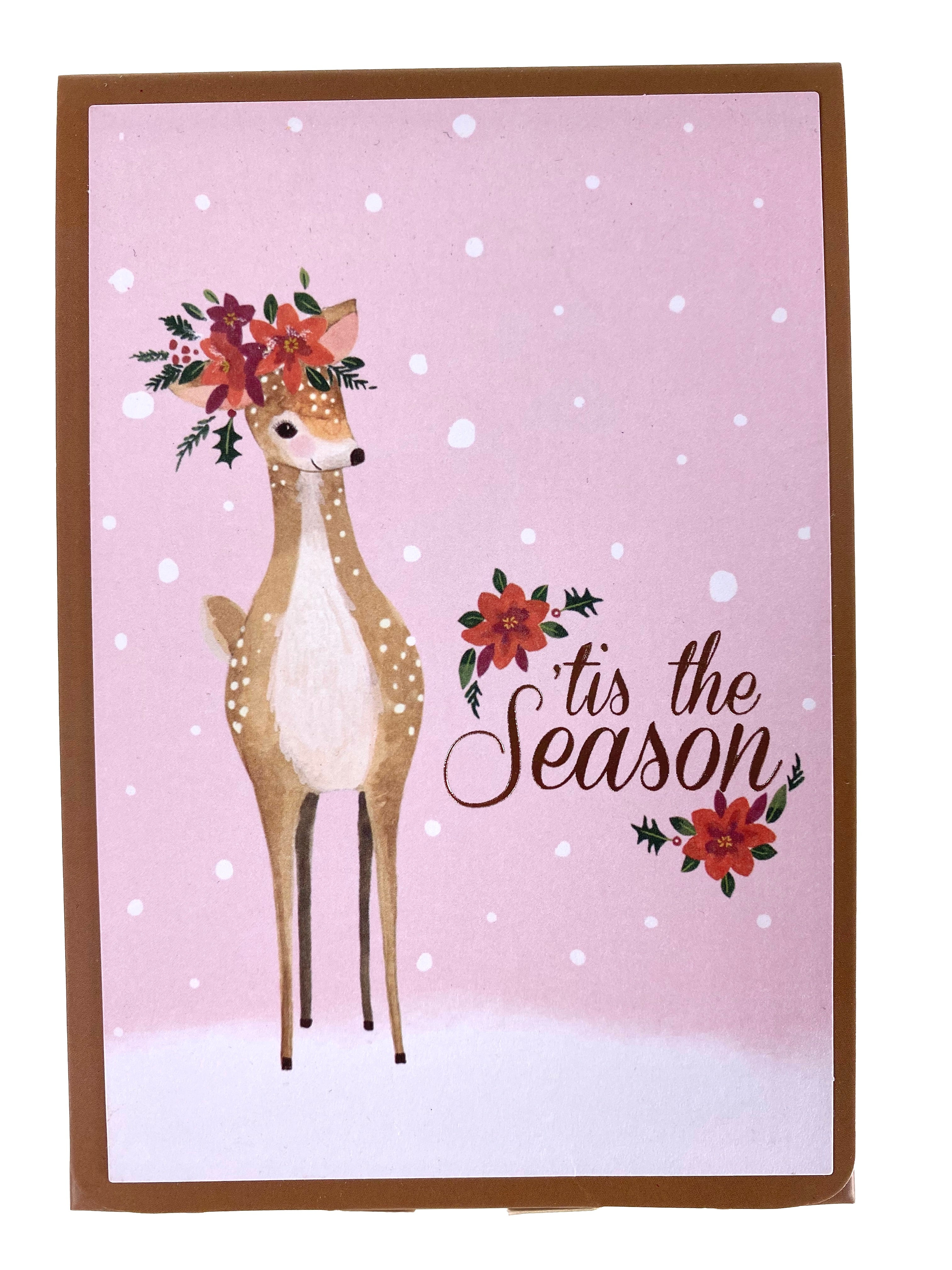 Pack Of 5 Christmas Cards - Festive Fawn