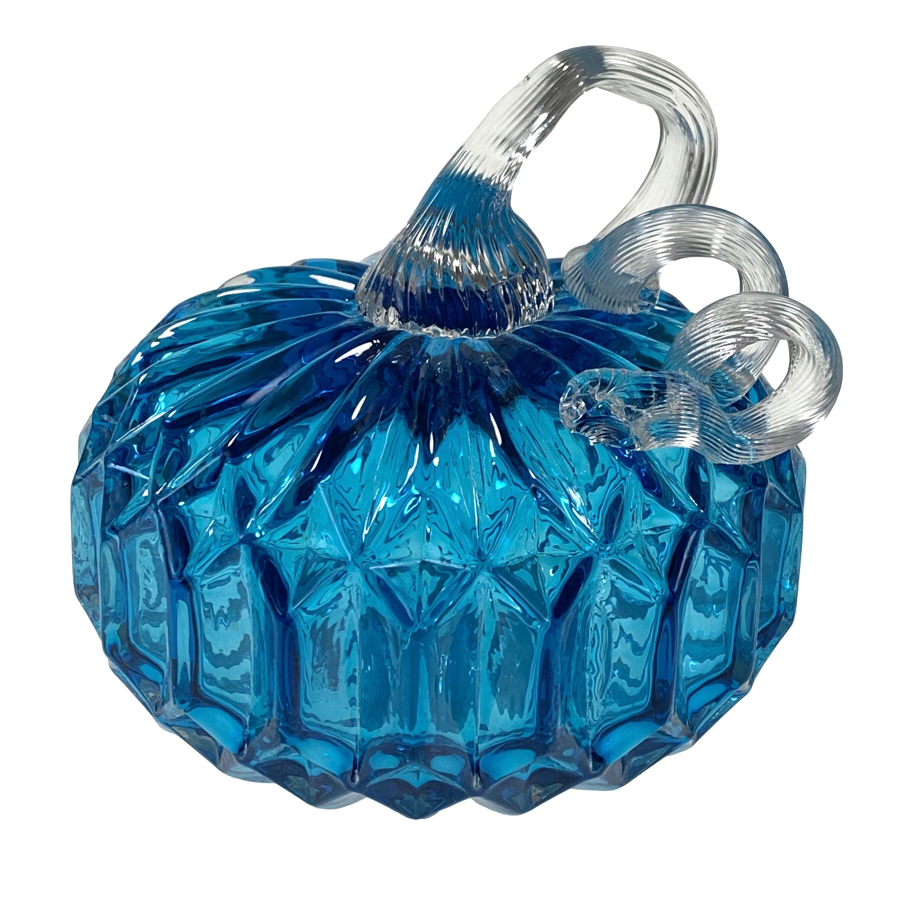 Small Glass Pumpkin - Blue Facets