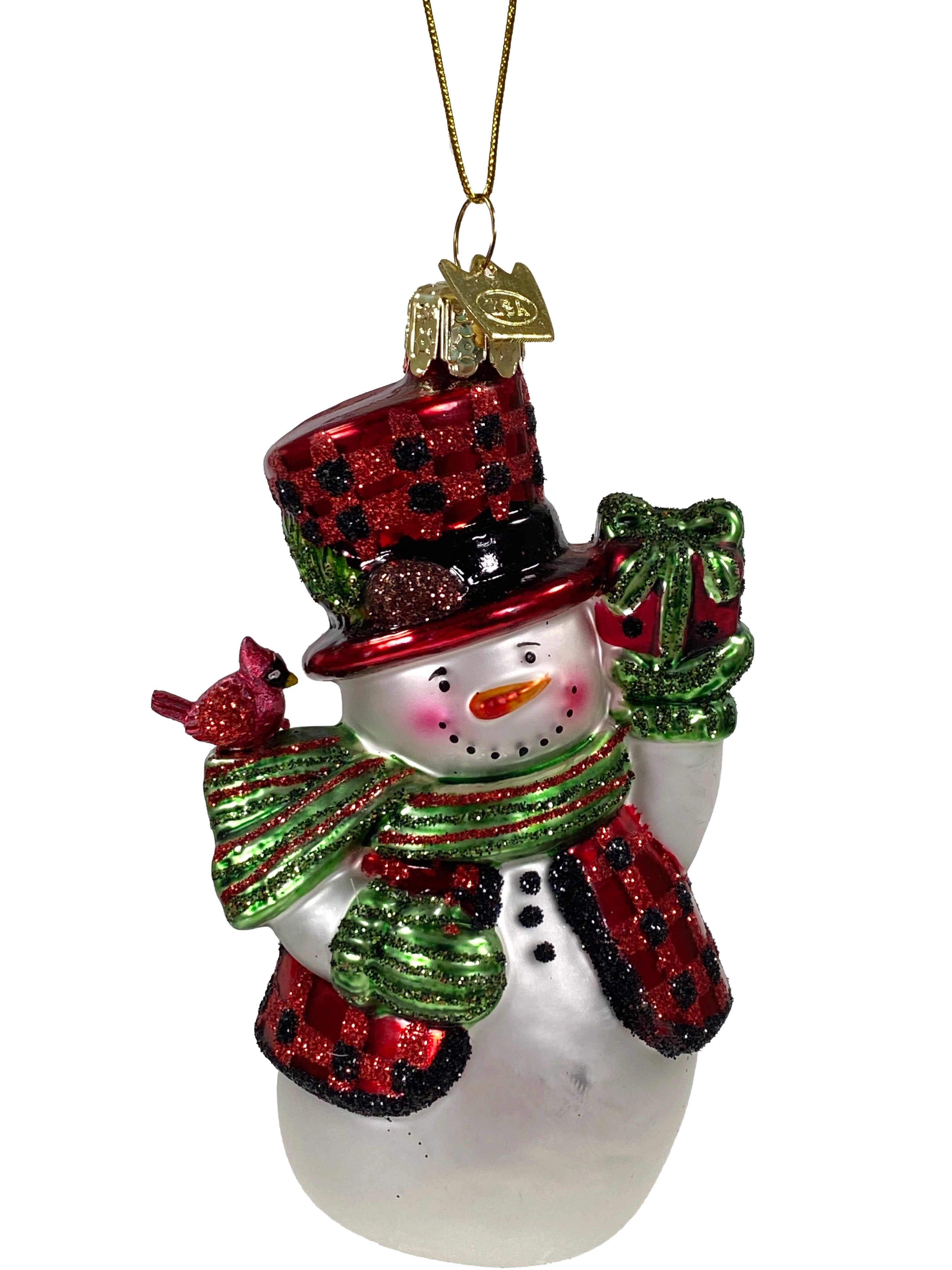 Glass Ornament Plaid Snowman With Packages