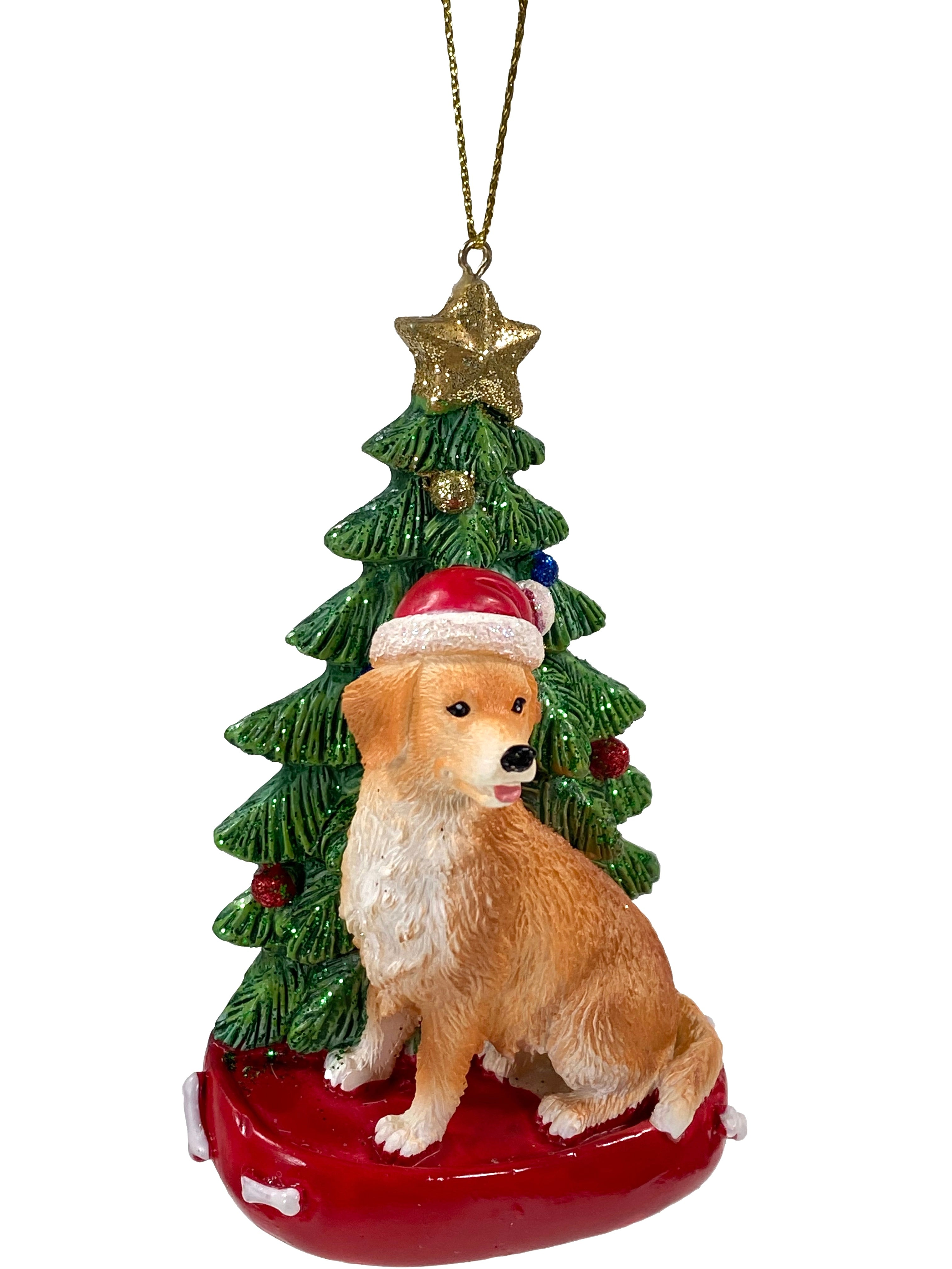 Golden Retriever With A Tree Ornament