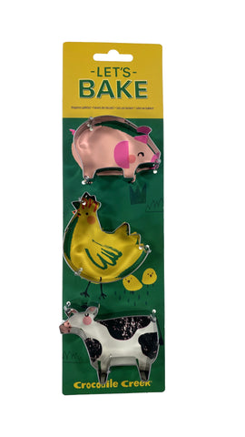 Let's Bake Cookie Cutters set of 3 Cow-Chicken-Pig
