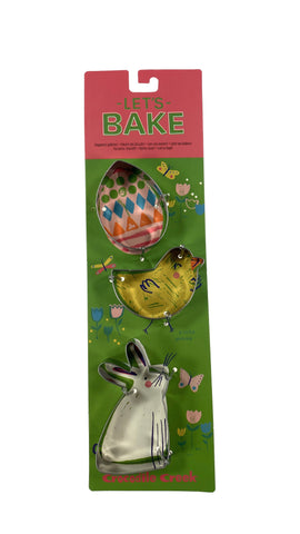 Let's Bake Cookie Cutter set of 3 Egg-Chick-Bunny