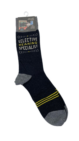 Blue Q Mens Crew socks Selective Hearing Specialist