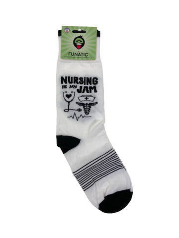 Funatic Crew Socks Nursing Is My Jam