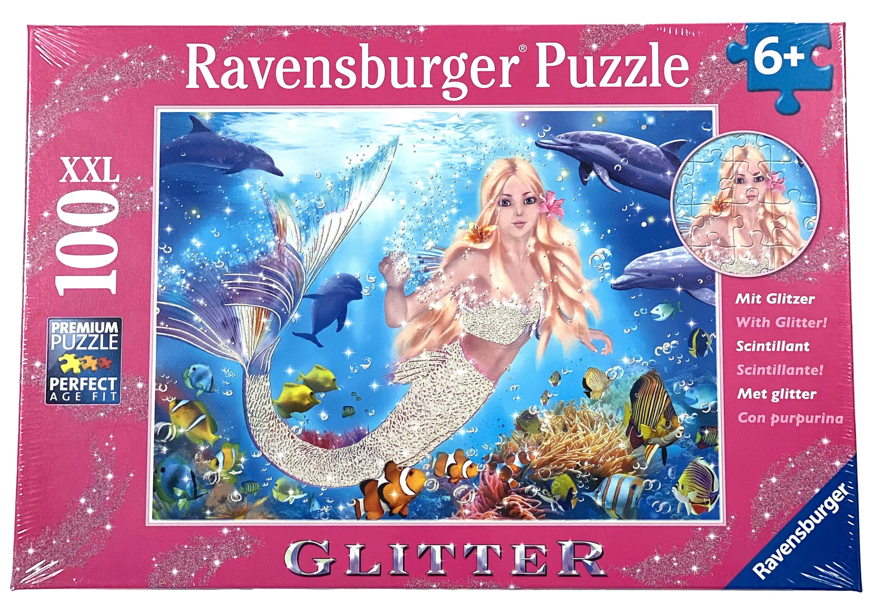 Glitter Mermaid And Dolphin 100 Piece Puzzle