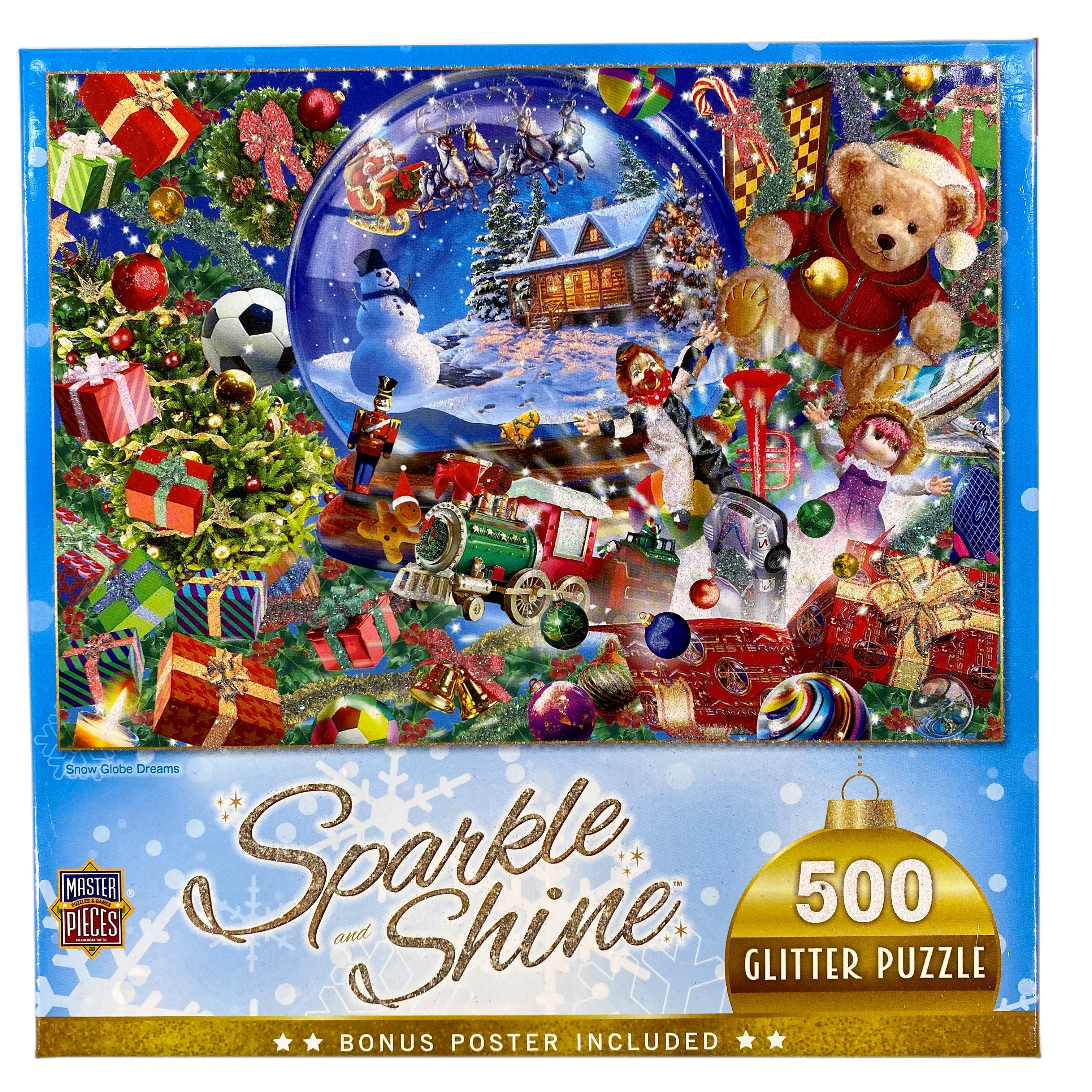 Snow Globe Dreams 500 Piece Sparkle & Shine Glitter Puzzle