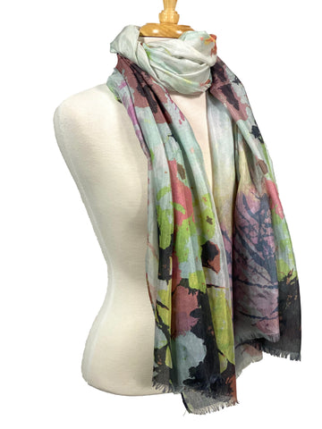 Scarf Floral Watercolor Soft Mint Grey